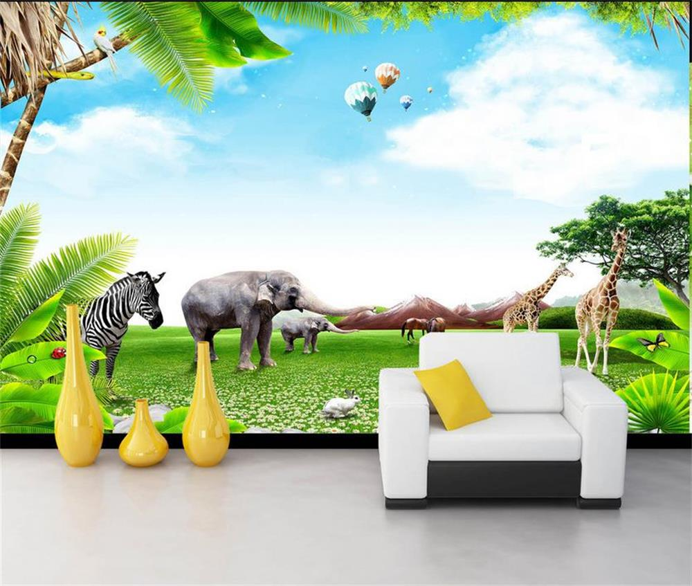 custom 3d hd photo wallpaper kids room 3d mural elephant zebra custom 3d hd photo wallpaper kids room 3d mural elephant zebra helium balloons giraffe hd painting sofa tv background wall mural in wallpapers from home