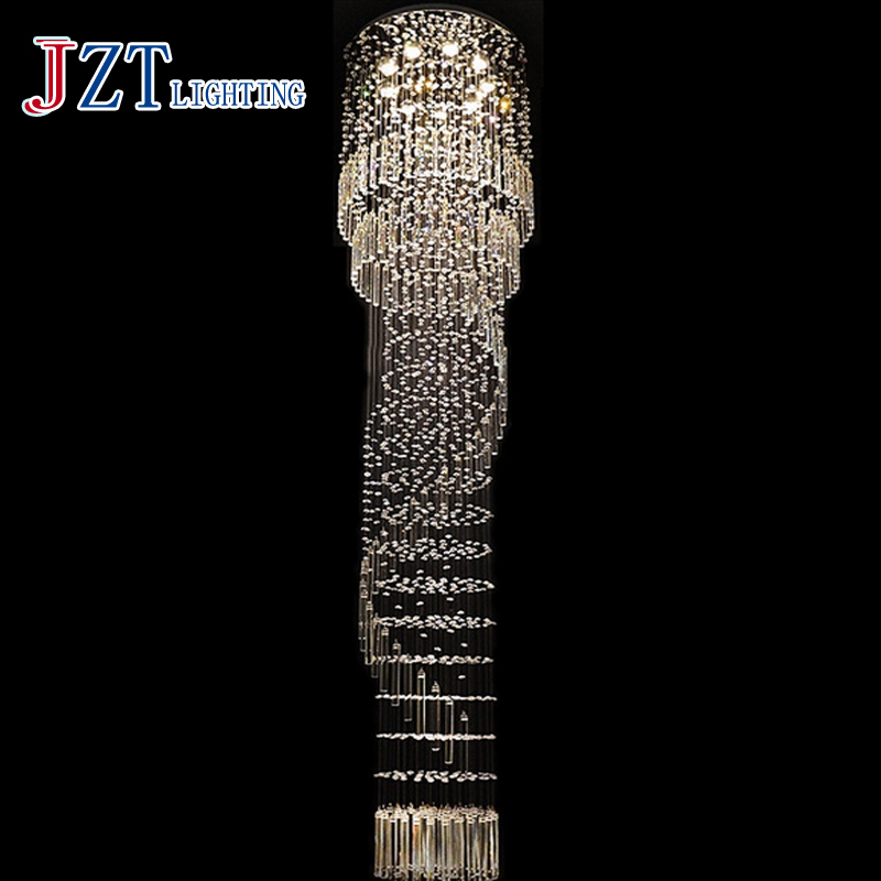 J Best Price Modern K9 Crystal Chandelier Stair Lamp spiral Living RoomLuxury Long Droplight Engineering Lamps Hotel Club j best price crystal black chandelier droplight europe restoring ancient light dining room crystal lamps for bedrooms 6 lights