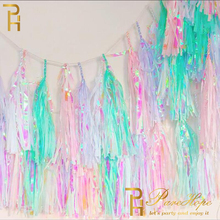 Unicorn Party Iridescent Tassel Garland Wedding Decoration Mermaid Baptism Birthday Bachelorette Baby Shower
