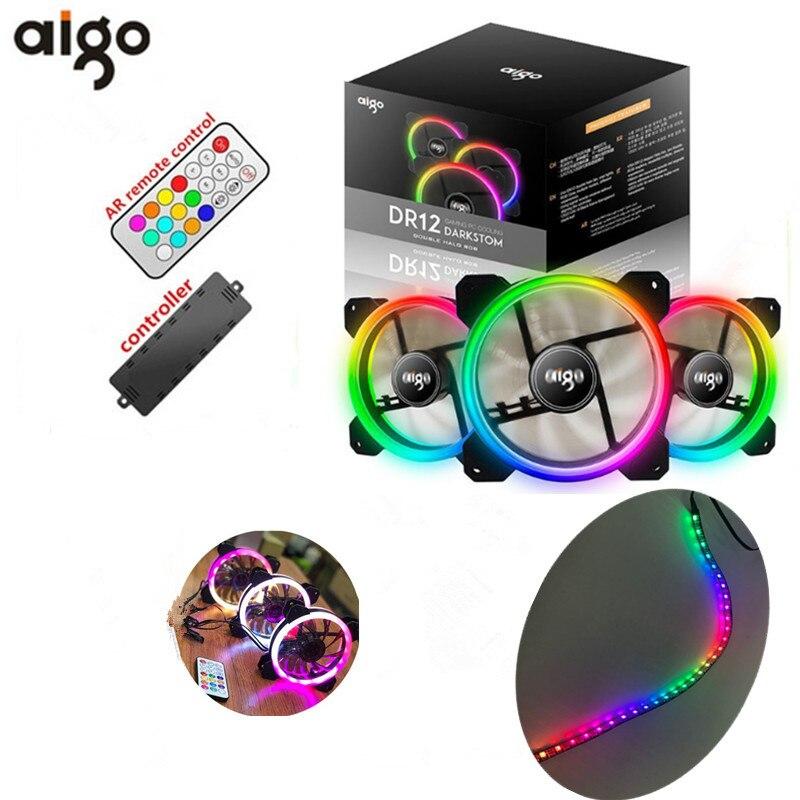 AIGO DR12 3 piezas de la computadora de la PC de la caja de refrigeración ventilador RGB ajustar LED 120mm Quiet + control remoto IR alta calidad ordenador ventilador de refrigeración de 50 cm imán