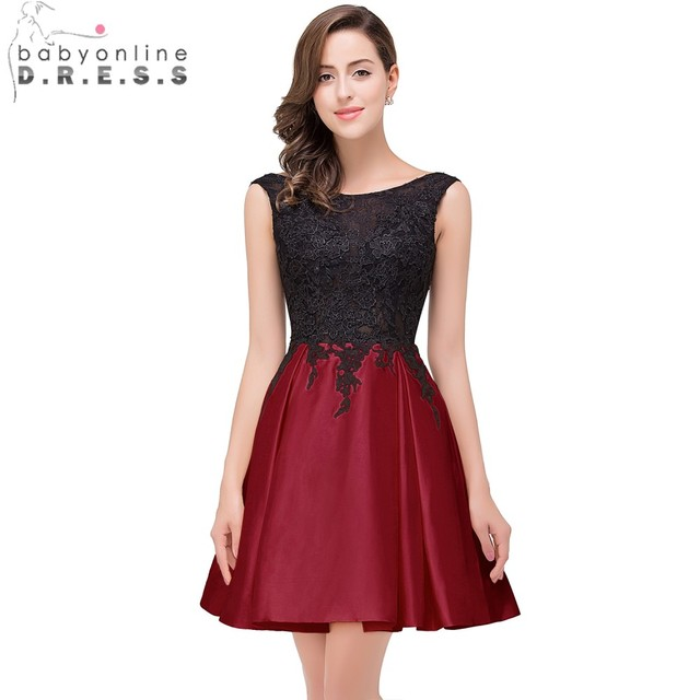 35ce8f08ff3 Babyonline 2019 Burgundy Lace Homecoming Dresses Scoop Satin Party Dresses  Lace Applique Mini Dress 8th Grade Prom Dresses