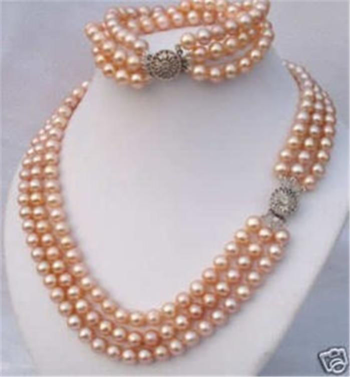 ! beautiful fashion 2015 new fashion 3 Rows 8mm Pink Shell Pearl Necklace Bracelet set JT6792