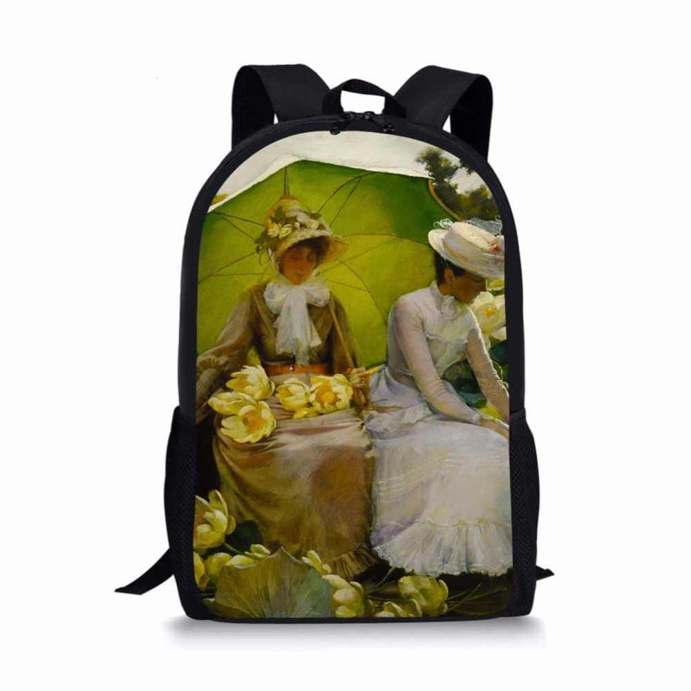 الشهيرة مونيه فان جوخ النفط اللوحة النساء الرجال حقيبة السفر الفن على ظهره البوليستر الفتيان الفتيات حقيبة كتب هدية مخصصة Mochila Escolar