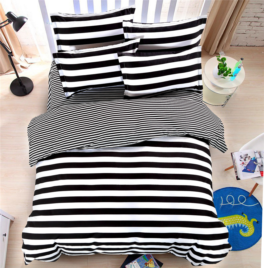 Yellow and black bedding sets - White And Black Stripes Bedding Bed Sets Queen Kigng Twin 4 5 Pcs Kids Boys Quilt Comforter Duvet Cover Bedsheets Bedlinens