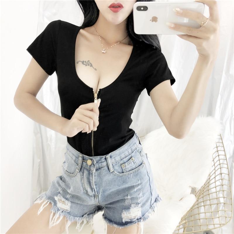6fc6a199d XUXI Sexy Night Club T-shirt 2019 Women Tight Short Sleeve Zipper Low Chest  Tops Tshirt Slim High Waist Low Collar T Shirt FZ401