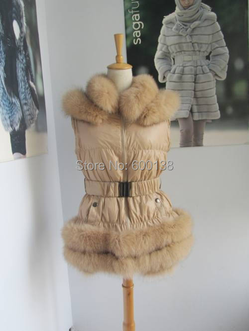 Free shipping new style large size down waistcoat  with fox fur trim - Women's Clothing
