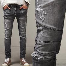 Байкер Джинсы 2016 Новая Мода Ripped Slim Fit Джинсы Дизайнер Проблемные Ретро Джинсы Бесплатная Доставка