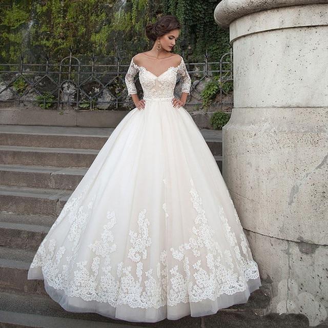 moda romántico vestido de novia de color beige 2017 3/4 manga