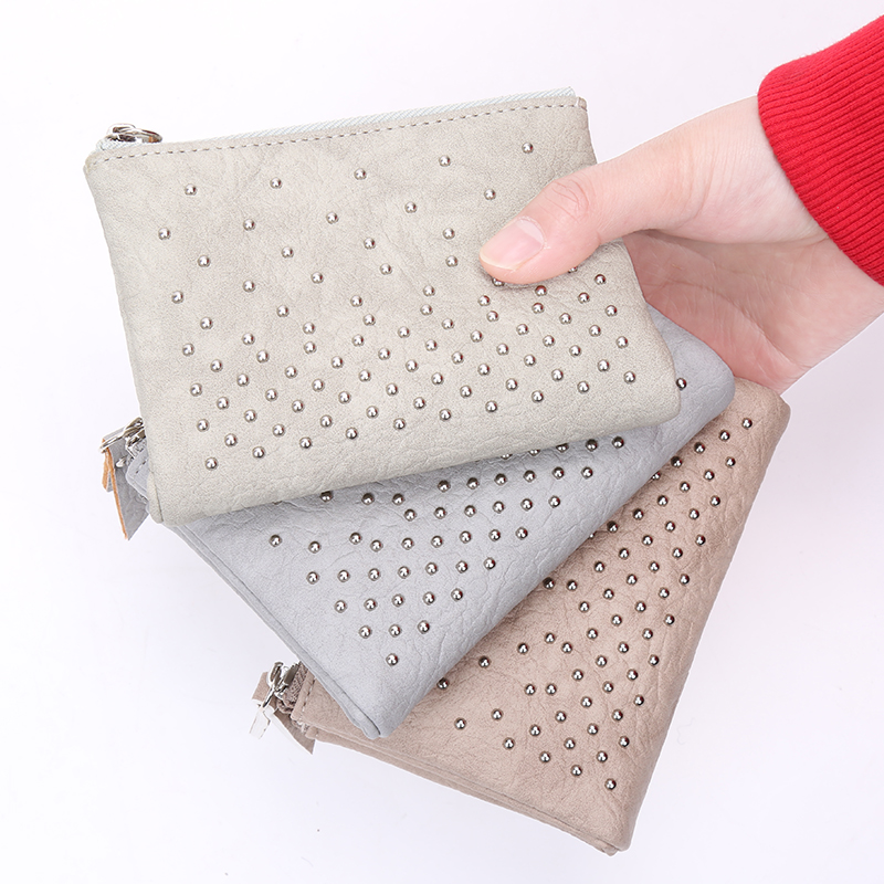 New Soft Leather Women Wallet Double Zippers Handbags Short Wallets Rivet Casual Small Lady Purses Brand Wallet For Cards Photo  wallet