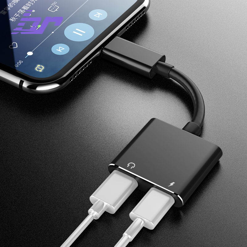BR 2in1 For Lighting Adapter For iPhone 7 8 Plus X Charging Adapter Charger Splitter Headphone Music Audio Earphone Cable IOS 11