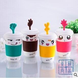 Korean Cartoon Mug With Lid Ceramic Mix Color Coffee Cup Kawaii 320ml Milk Colorful