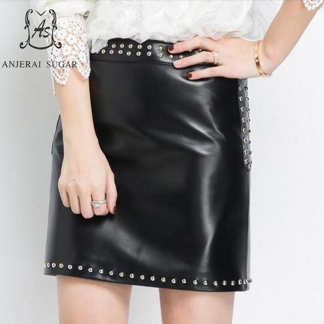 90704d62fde0 Autumn winter Genuine leather skirts women black High waist rivet zipper OL  Package hip sheepskin female short A line mini skirt