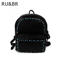 RU BR College Wind Rivets Shoulders Bag New Korean Women PU Leather Leisure Solid Color Diamond