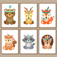 Lion Deer Fox Bear Squirrel Wall Art Canvas Painting Cartoon Nordic Posters And Prints Pictures Girl Boy Kids Room Decor
