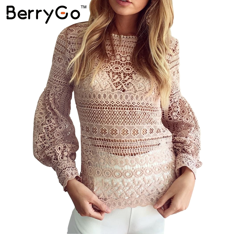 BerryGo White lace blouse shirt women casual shirt top Christmas sexy hollow out lantern sleeve cool blouse Female blusas 2016