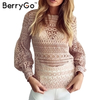 BerryGo White Lace Blouse Shirt Women Casual Shirt Top Christmas Sexy Hollow Out Lantern Sleeve Cool