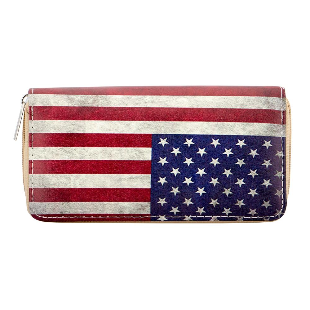 Sansarya 2018 New Fashion American USA Flag Print Long Woman Wallet Card Holder Women Men Wallet Zipper PU Leather Purse