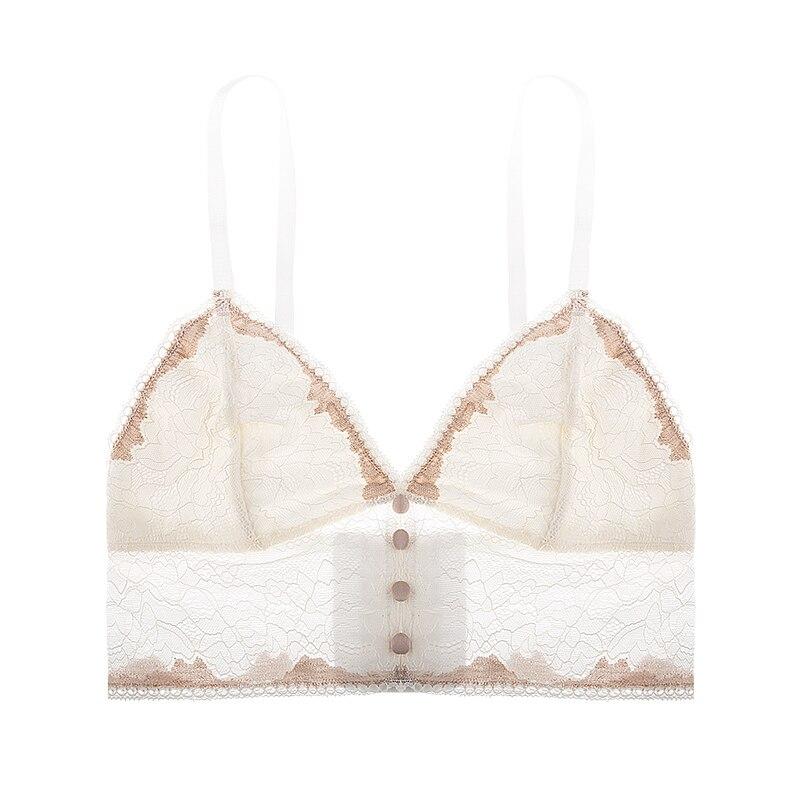 fab92ba3de CINOON Thin section French bralette sexy deep V lace small chest underwear  women no steel ring ultra thin beauty back bra-in Bras from Underwear ...