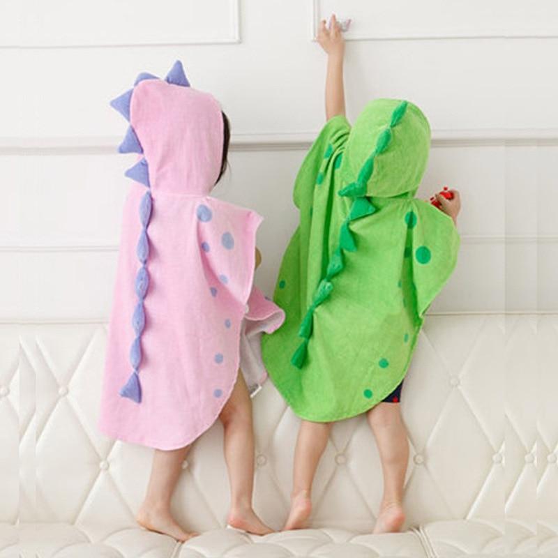 Dinosaur Kids Bathrobe 3D Cartoon Baby Girls Boys Swim Beach Towel Children Cotton Hooded Bath Towel For 2-6 Years Old