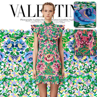 Hollow merletto Del Ricamo tessuto, moda fioritura floreale ricamo, Vintage sheer tessuto, cucire per la parte superiore, vestito, artigianale dal cantiere