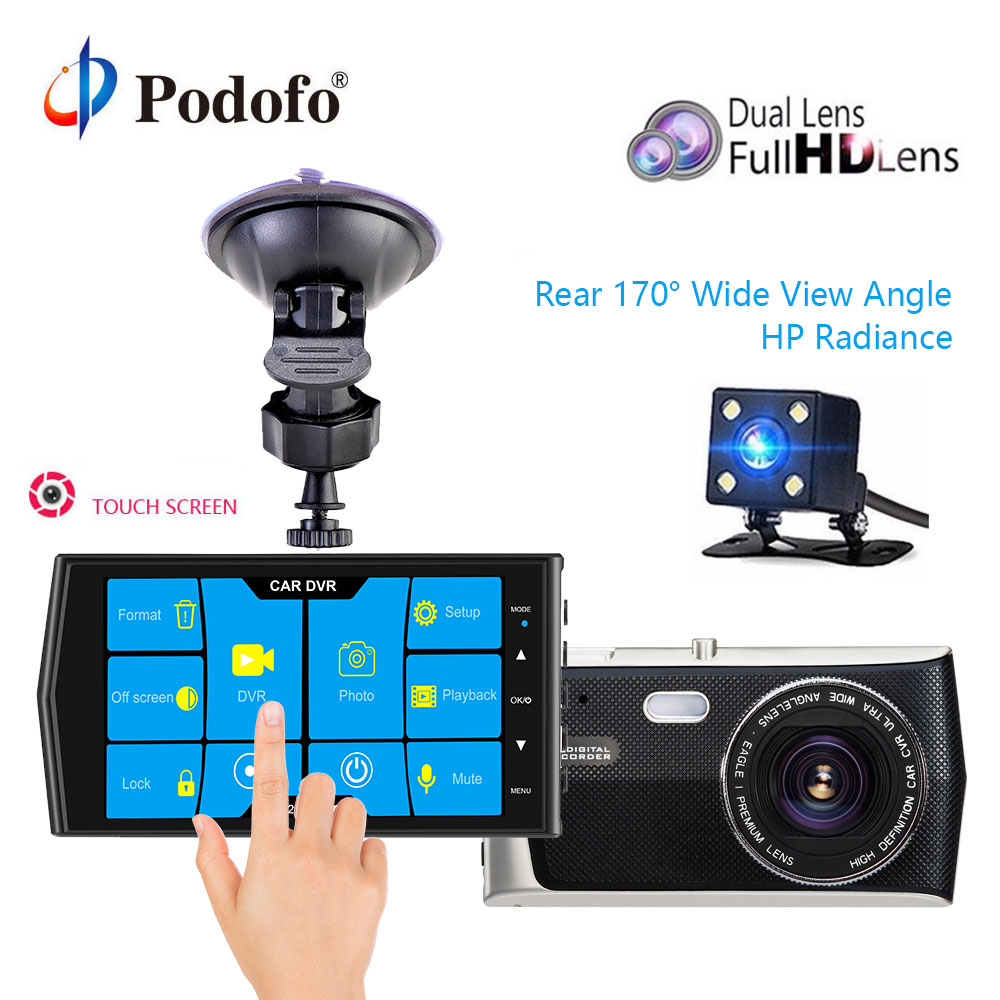 Podofo DVR recorder Touch Screen 4 Dash Cam Dual Lens Night Vision car dvr autoregistrars video