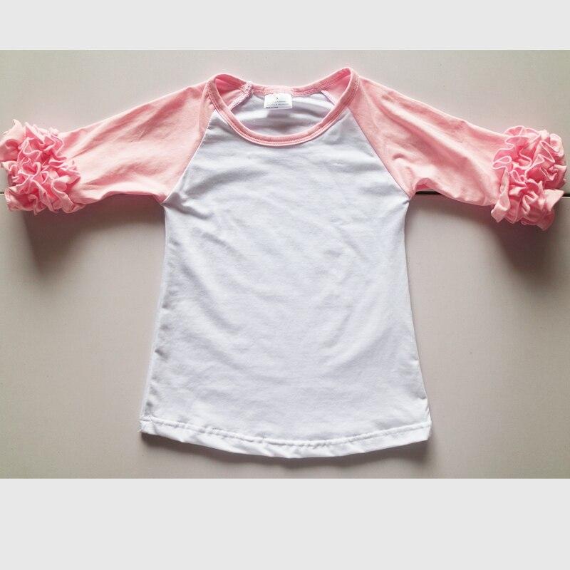 baby pink icing shirts Pink Toddler Ruffled Raglan Shirt Short Sleeve personalized T shirts for toddler