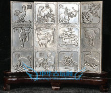 Chinese Boutique collection Tibetan silver carving Twelve folding screen