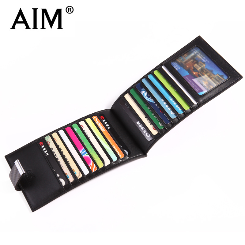 AIM Mens Luxury Brand Card Holder Fashion Business Men ID Card Organizer Split Leather Credit Card