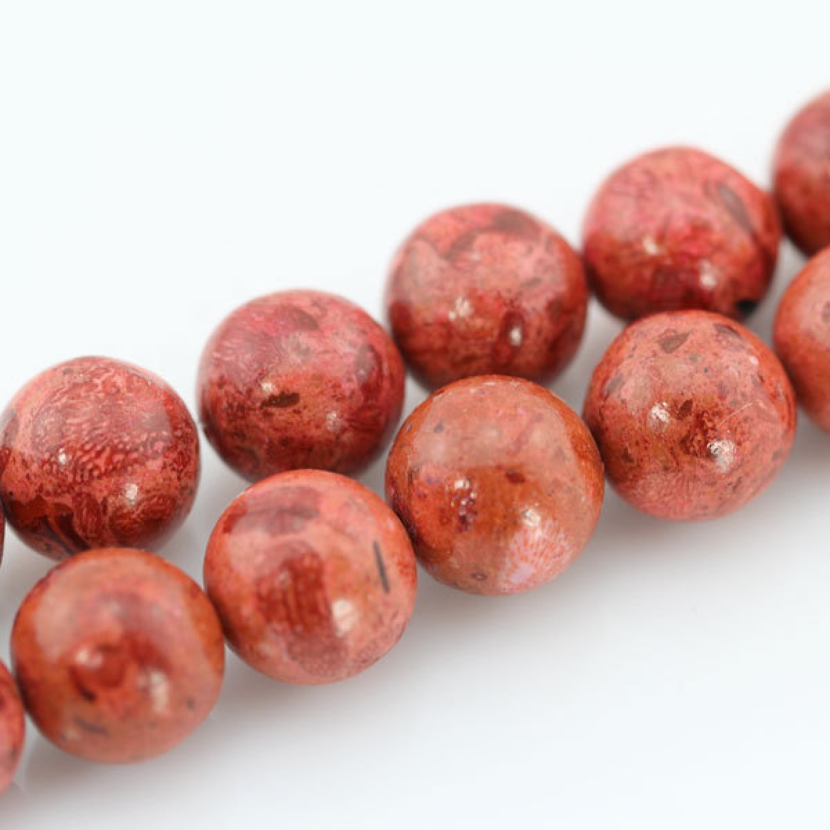 10mm Round <font><b>red</b></font> Sponge <font><b>Coral</b></font> Beads One Full Strand <font><b>Red</b></font> Semi Precious Stone Beads---30 Pieces--16.5 inches--BC007 image