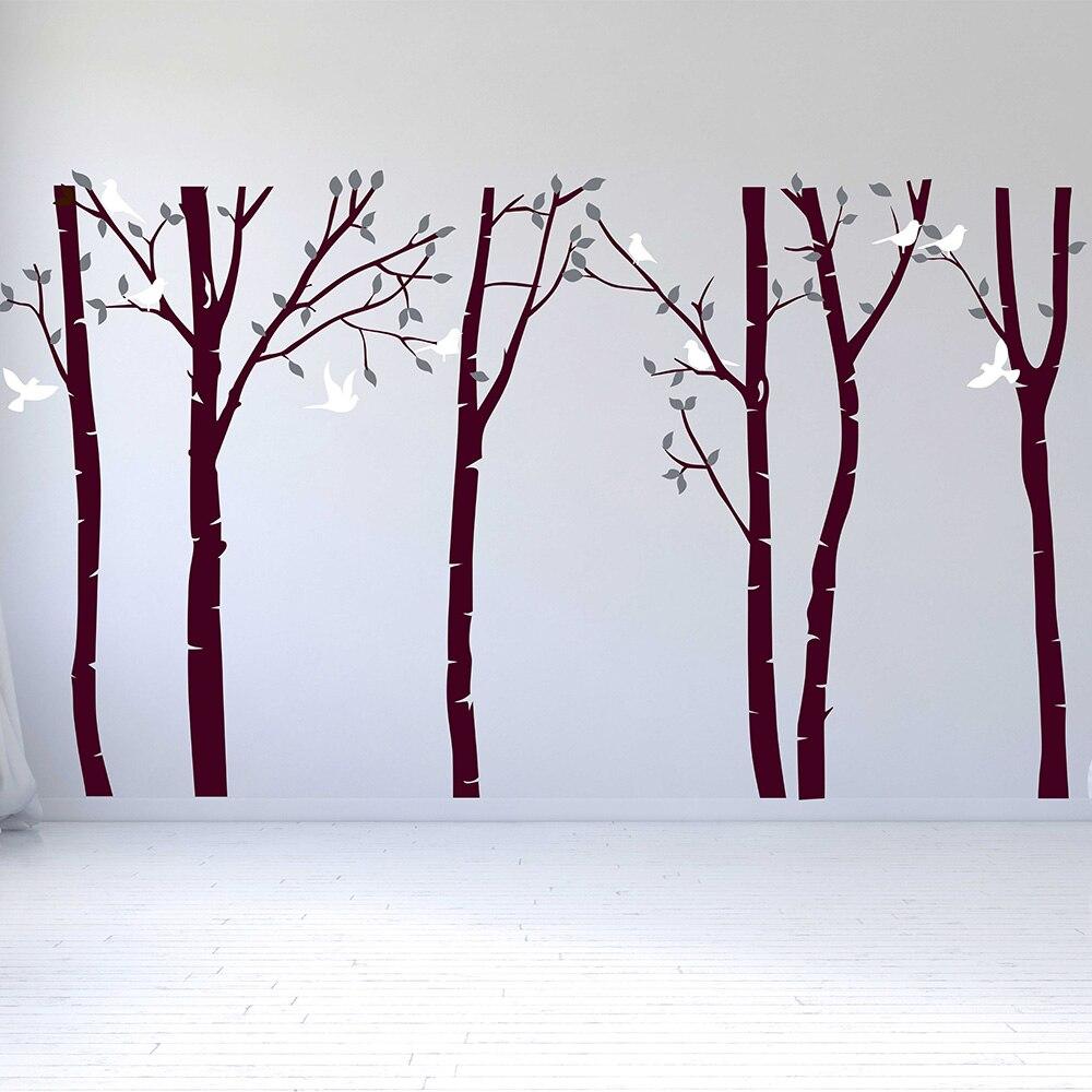 Birch Floresta Da Árvore de Adesivos de Parede Sala de estar Decalques de Parede Removível Árvore Adesivo de Parede Do Berçário Do Bebê Decoração Da Parede do Vinil Adesivo 716 T - 3