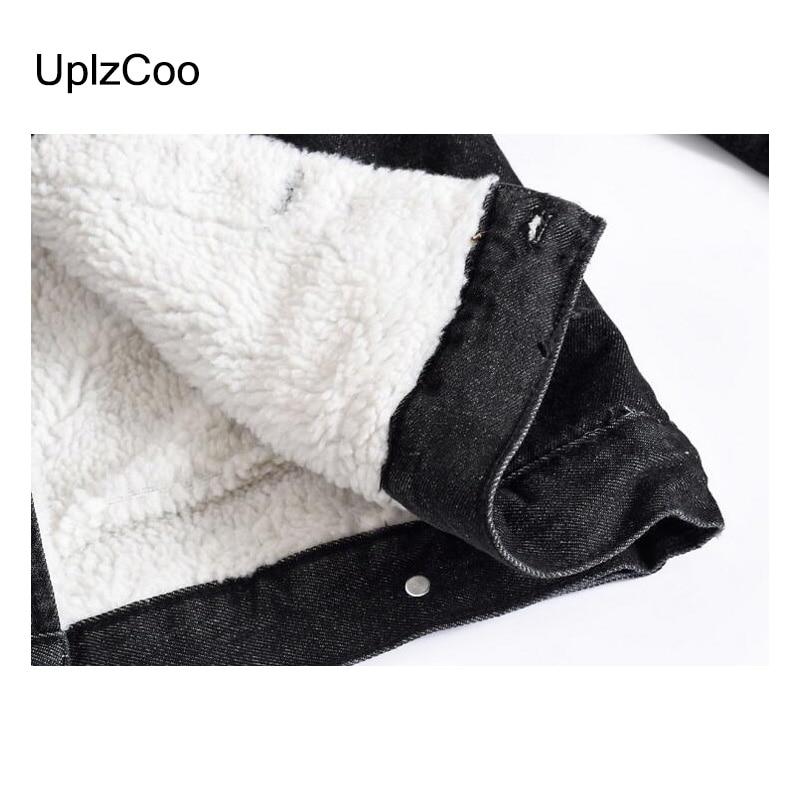 UplzCoo Men Jacket Autumn Winter New Casual Jacket Slim Jacket Zipper Fleece Black Denim Men Coat Cotton Fur Collar 5XL FM138 - 5