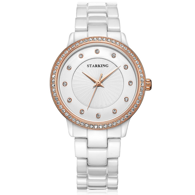 STARKING Women's Watch Fashion Waterproof Crystal Decorate Quartz Clock Ceramic Band Frosted Dial Mother's Gift reloj mujer 10 and 12 2pcs chakra white frosted quartz crystal singing bowl 432hz