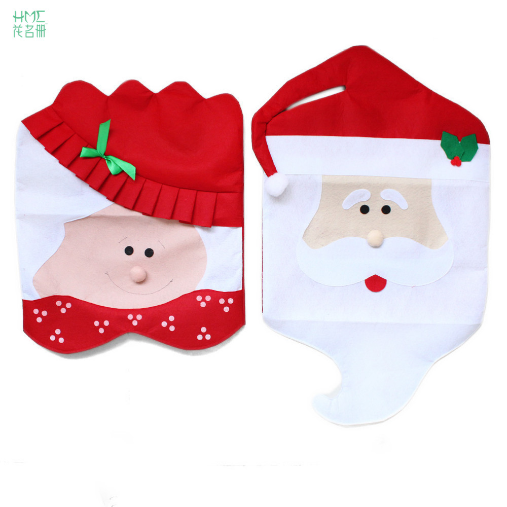 Christmas Decorations Mr&Mrs Santa Chair Covers Santa Claus Natal  For Home Christmas Dining Room Chair Cover Home Decor