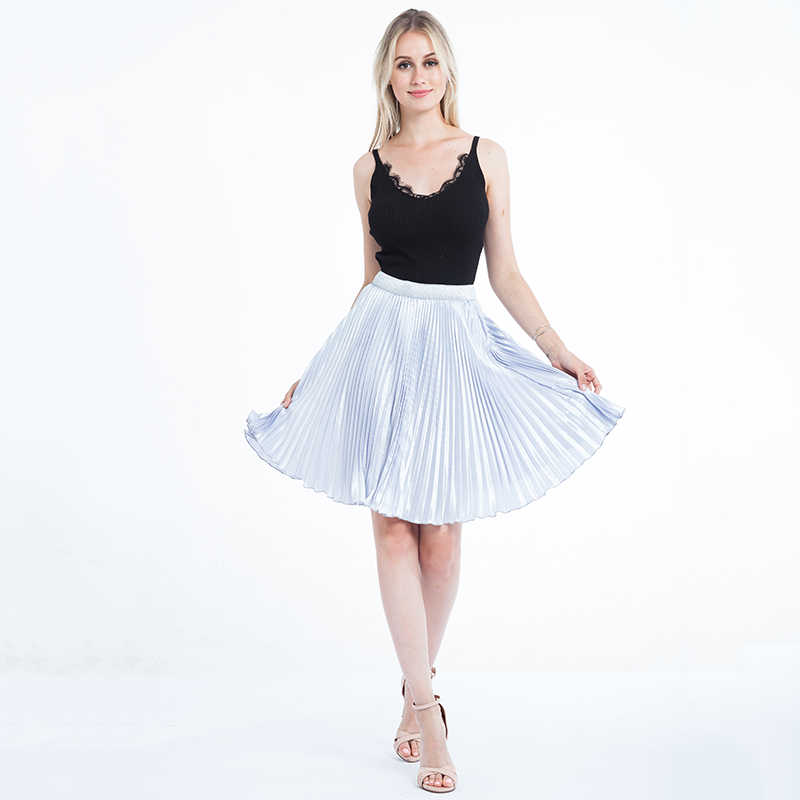 bd69d11c21ab67 ... Women Chiffon Pleated Skirts Fashion Women s High Waist Tutu Pleated  Gold Color Big Swing Skirt Summer ...