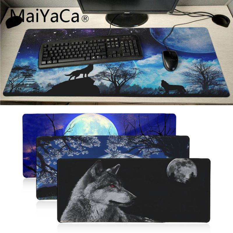 Extended XXL Gaming Mouse Pad Keyboard Mousepad Mouse Mat Black Blue Wolf Moon