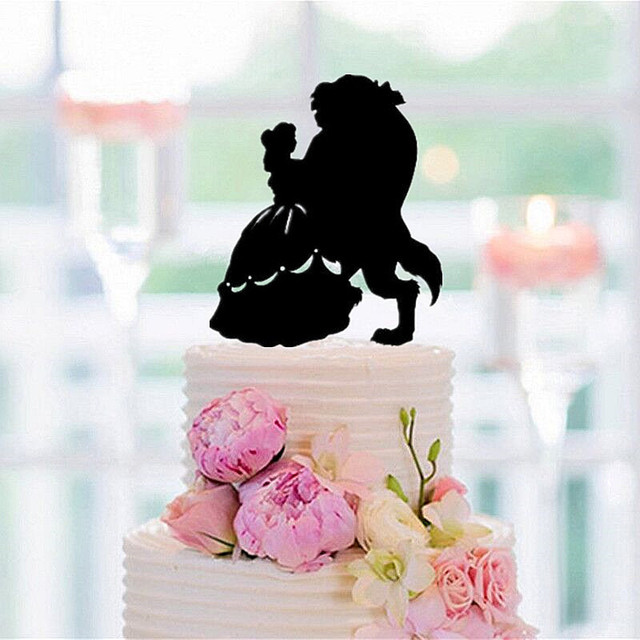 Funny Wedding Cake Topper Beauty And The Beast Silhouette Cake