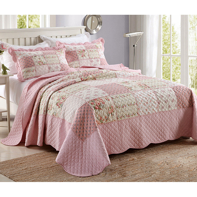 CHAUSUB Patchwork Quilts Washed Cotton Quilt Set 3PCS Bed Sheets ... : bed sheet quilt set - Adamdwight.com