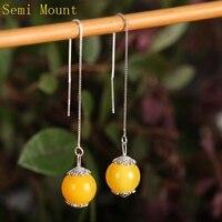 Sterling Silver 925 Women Drop Earrings Semi Mount For Pearl Or Round Bead Fine Jewelry Setting