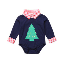 Toddler Boys Christmas Trees Plaids Print Romper Playsuit Kids Baby Girl Boy Cotton Newborn Rompers Jumpsuit Xmas Gifts Clothes(China)