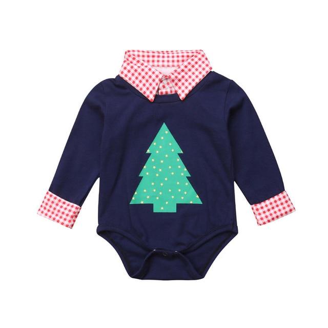 3a3b232da4e8 Toddler Boys Christmas Trees Plaids Print Romper Playsuit Kids Baby ...
