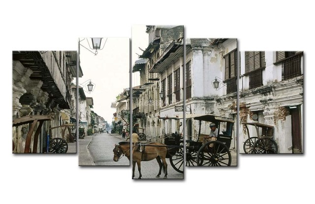 5 Piece Wall Art Painting Philippines Horse And Cart Picture Print On Canvas City 4 3