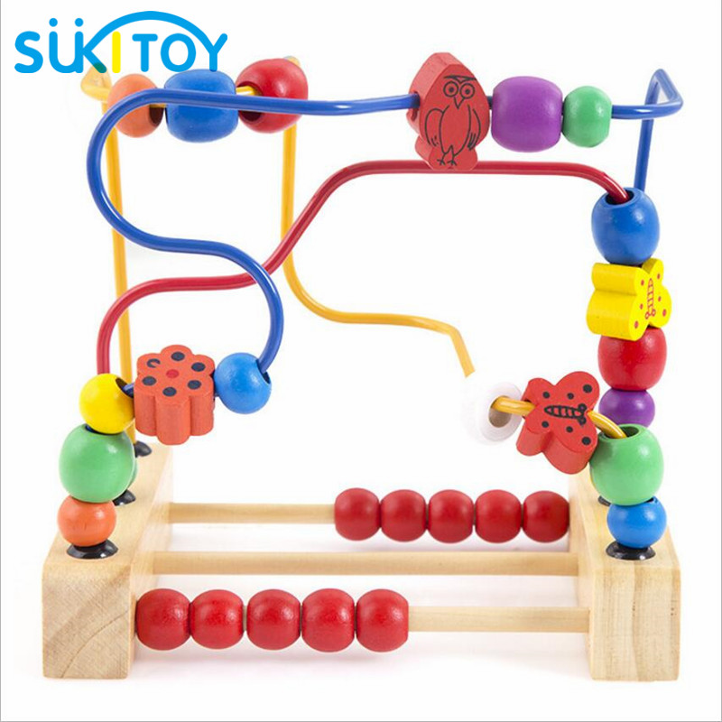 Kid's Classic Soft Montessori Wooden Bead Maze Toy Set with colorful beads early educational toy with colorbox gift for infant wooden magnetic labyrinth maze educational game toy