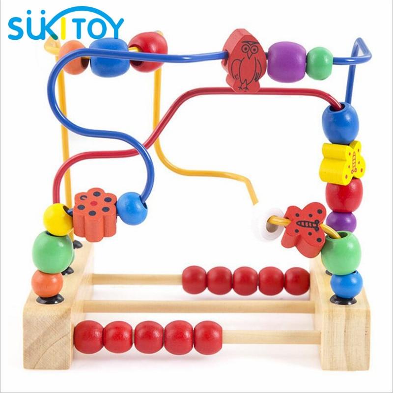 מונטסורי מעץ חרוז מבוך צעצוע חרוזים - צעצועים בנייה