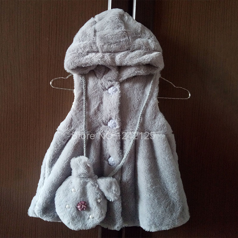 Collection Here New Spring Autumn Girl Children Faux Vest Baby Hooded Cashmere Vest Jacket With Bag Child Faux Fur Coat Outwear Jacket Clothing