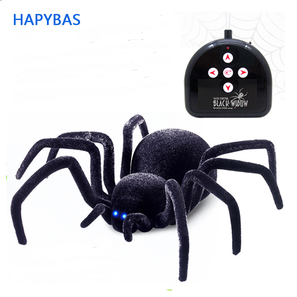 Electronic pet Remote Control Simulation tarantula Eyes Shine smart black Spider 4Ch Halloween RC Tricky Prank Scary Toy gift scary lifelike spider toy with squeeze to sound effects