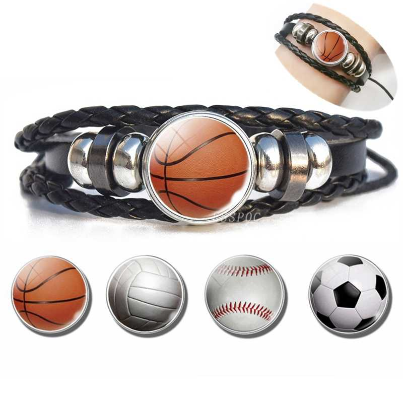 Basketball Charm Leather Bracelet Men Fashion Black weave leather Bracelet Basketball Football Baseball Jewelry Men Gifts