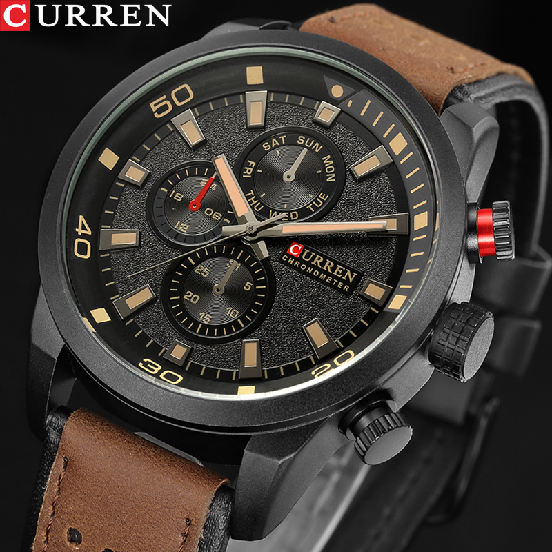 NEW Fashion Casual CURREN Brand Waterproof Quartz Watch Men Military Leather Sports Watches Man Clock Relogio Masculino