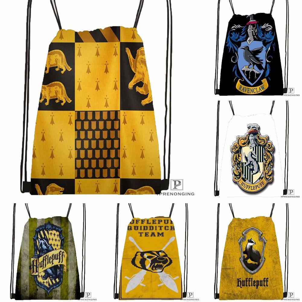 Custom Hufflepuff Drawstring Backpack Bag Cute Daypack Kids Satchel Black Back 31x40cm 180531 03 76