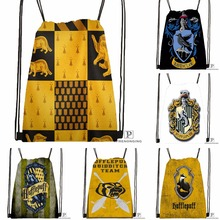 Custom Hufflepuff Drawstring Backpack Bag Cute Daypack Kids Satchel (Black Back) 31x40cm#180531-03-76