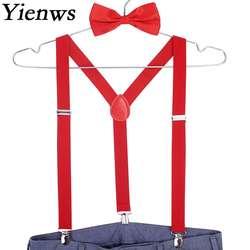 Yienws красный галстук бабочка подтяжки для женщин для мужчин Suspensorio мужские подтяжки мотобрюки темно Erkek Jartiyer Szelki сделать Spodni YiA001